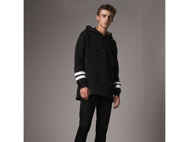 Bold Stripe Detail Oversize Hooded Sweatshirt in Black - Men | Burberry United States - cell image 4