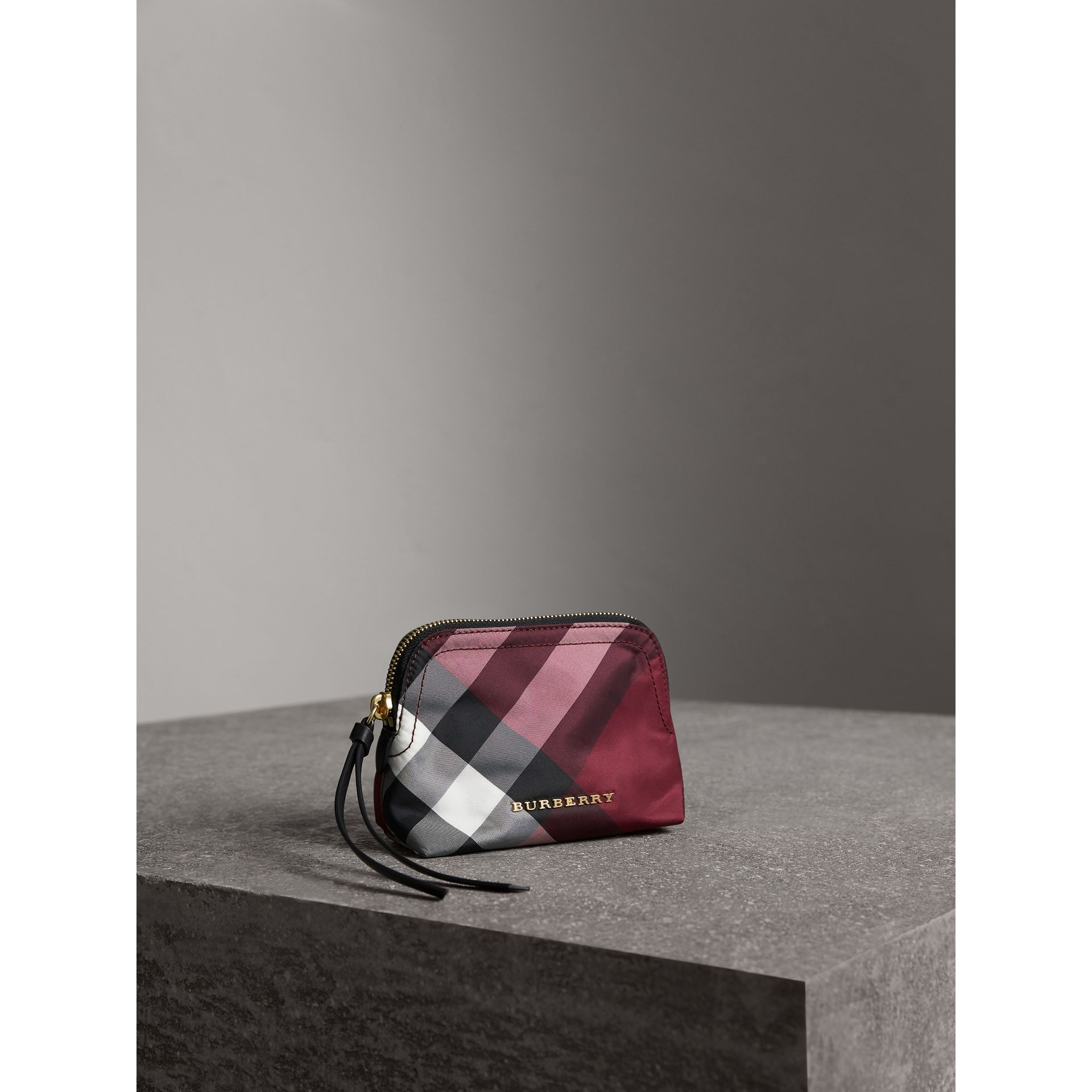 Small Zip-top Check Pouch in Plum - Women | Burberry - gallery image 5