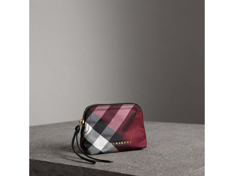 Small Zip-top Check Pouch in Plum - Women | Burberry Canada - cell image 4