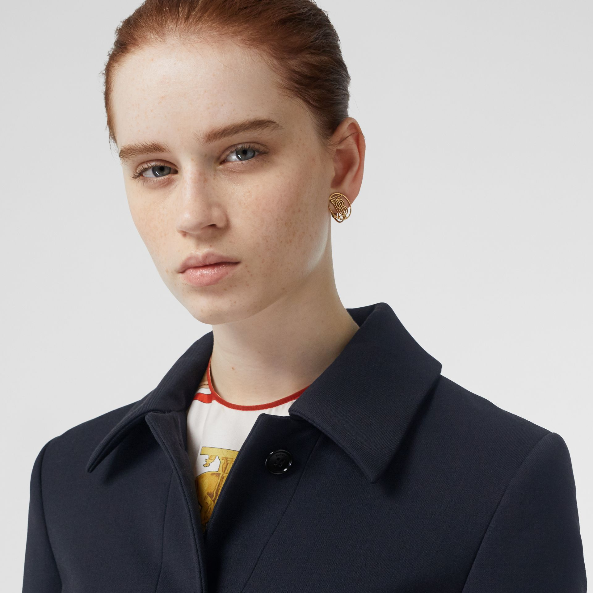 Double-faced Wool Cashmere Blend Coat in Navy - Women | Burberry Australia - gallery image 5