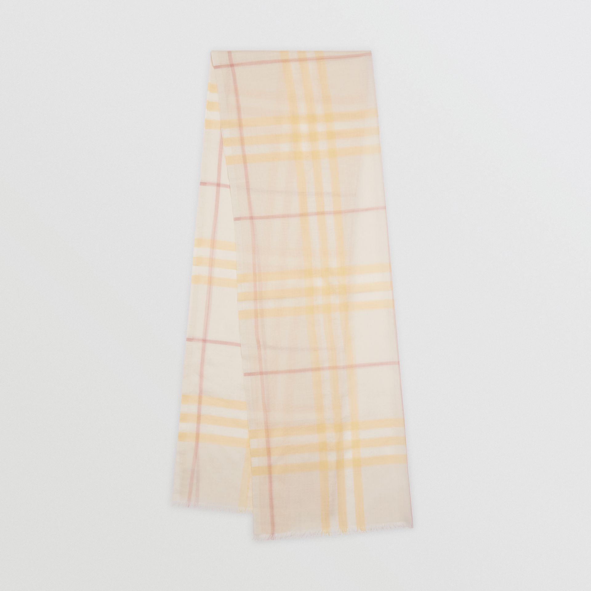 Lightweight Check Wool and Silk Scarf in Primrose - Men | Burberry - gallery image 0