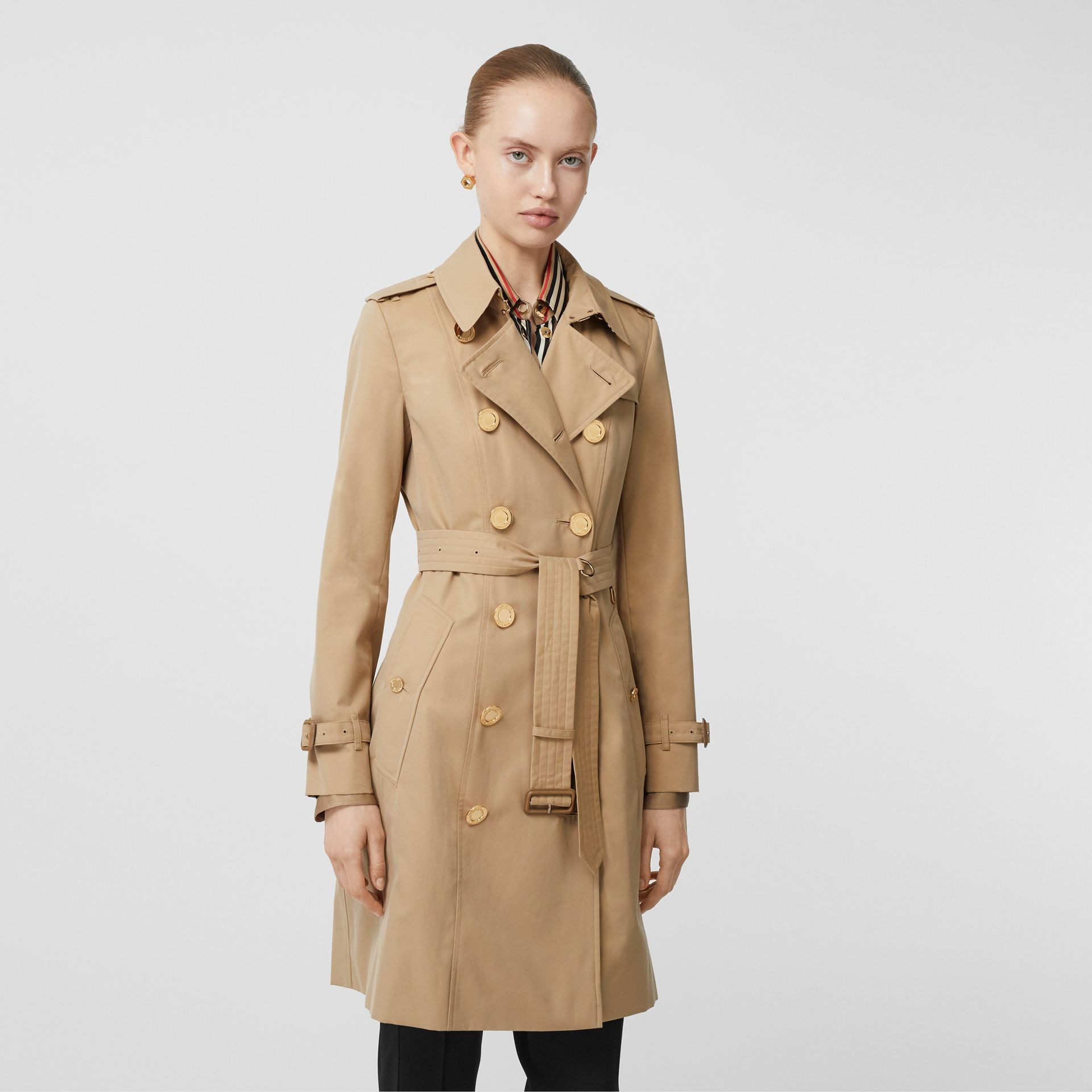 Button Detail Cotton Gabardine Trench Coat in Honey - Women | Burberry - gallery image 6