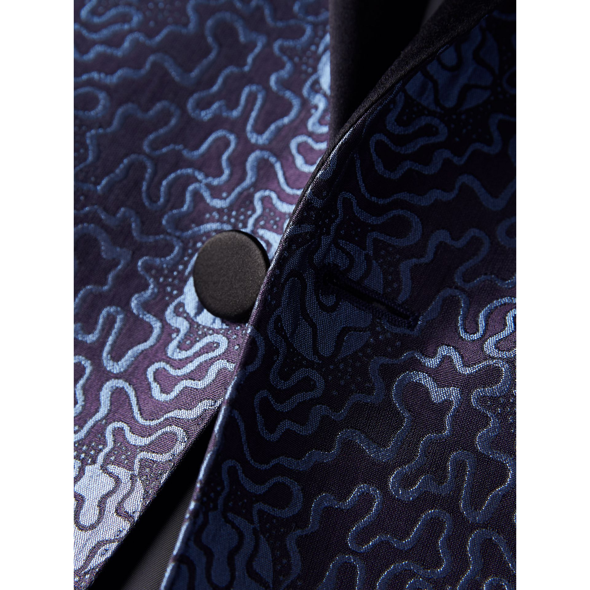 Slim Fit Swirl Silk Cotton Jacquard Evening Jacket in Steel Blue - Men | Burberry United Kingdom - gallery image 1