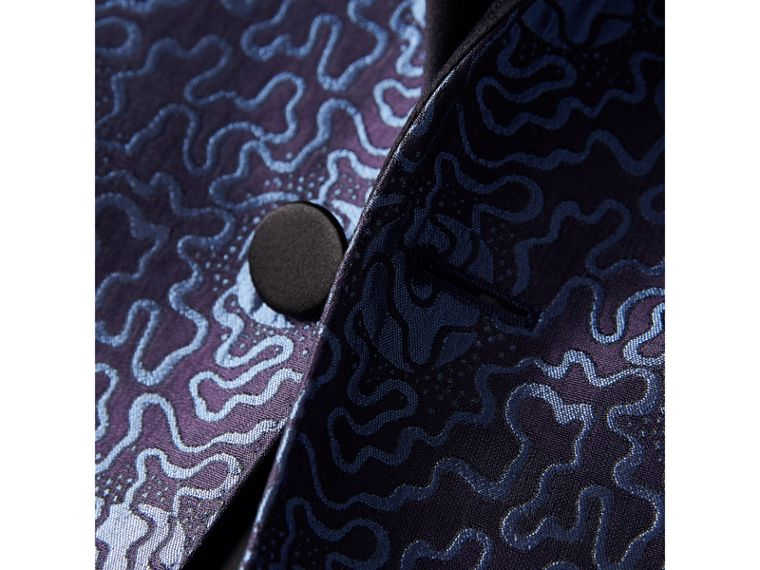 Slim Fit Swirl Silk Cotton Jacquard Evening Jacket in Steel Blue - Men | Burberry - cell image 1
