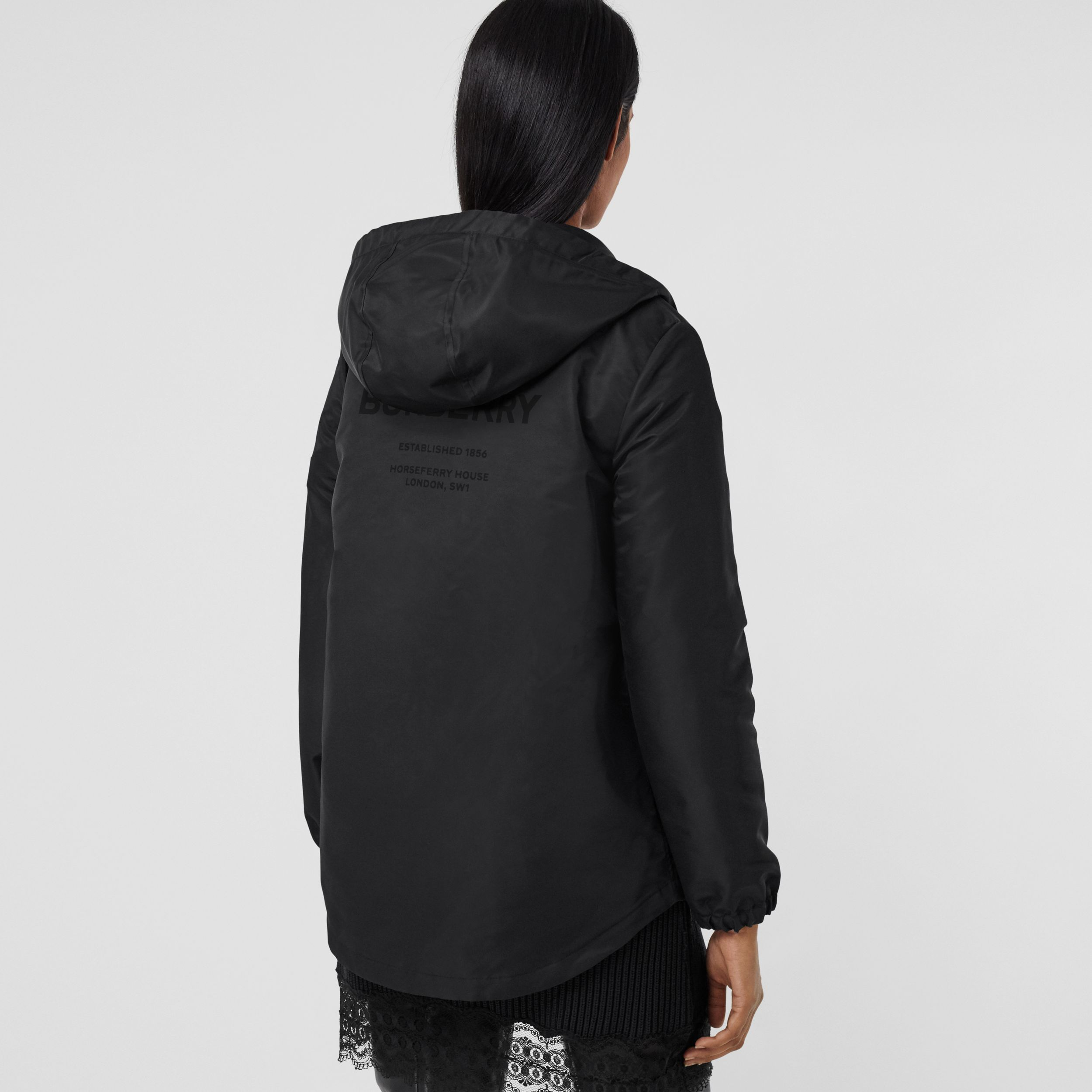 Horseferry Print Lightweight Hooded Parka in Black - Women | Burberry - 3