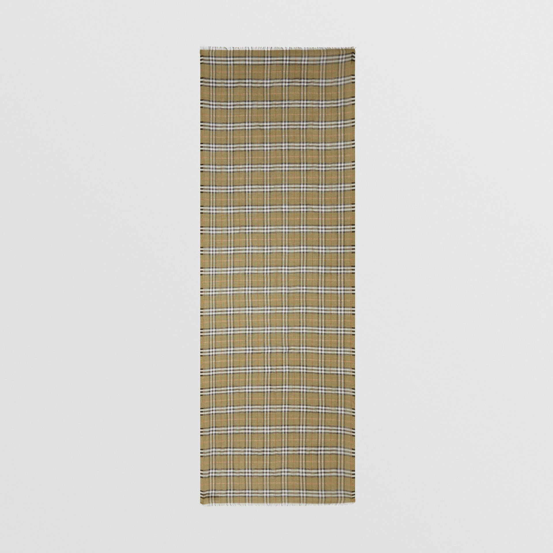 Metallic Vintage Check Wool Silk Blend Scarf | Burberry United Kingdom - gallery image 4