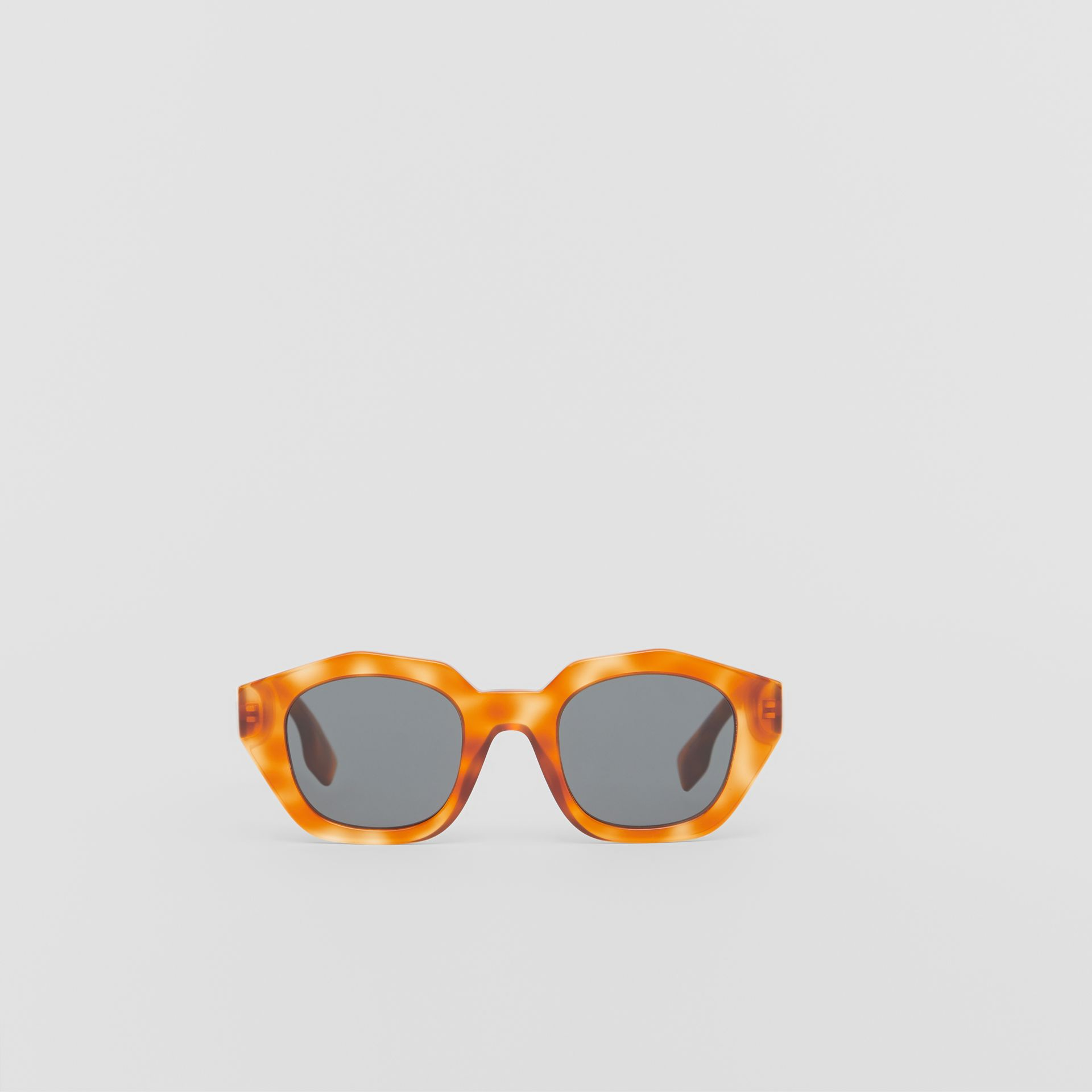 Geometric Frame Sunglasses in Tortoiseshell Amber - Women | Burberry - gallery image 0