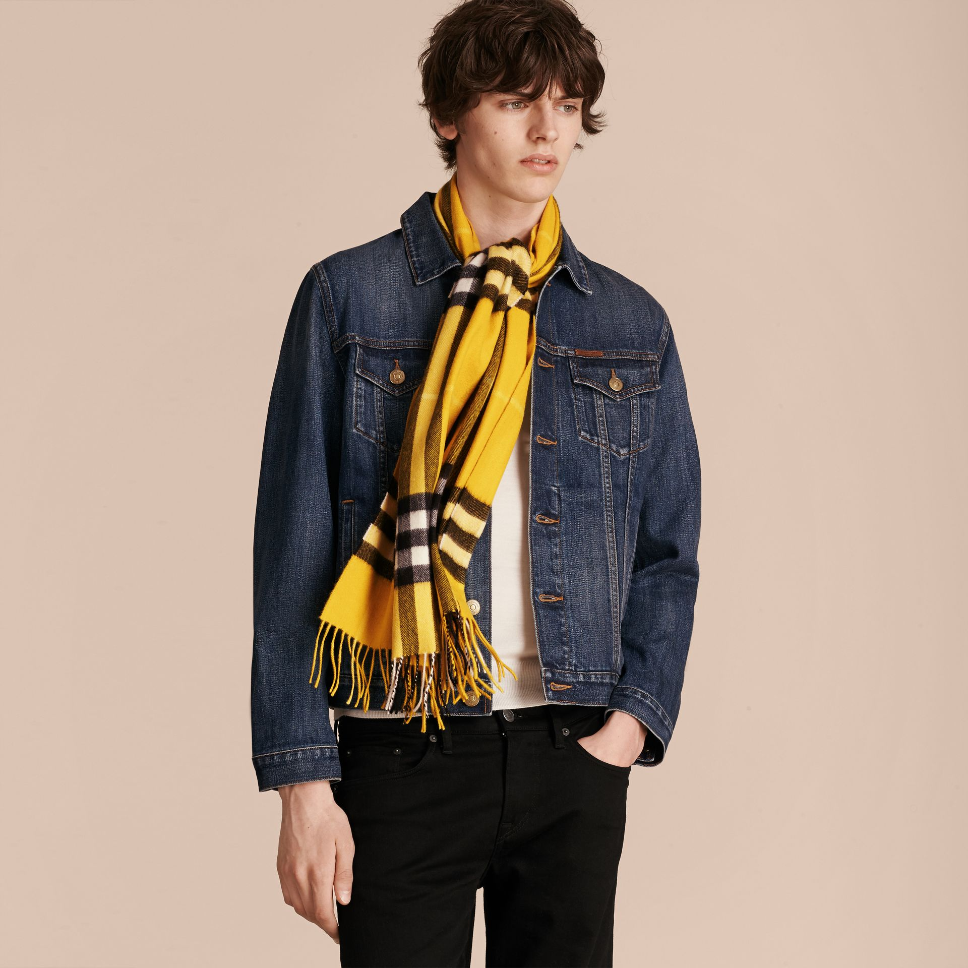 The Classic Cashmere Scarf in Check  Gorse Yellow - gallery image 4