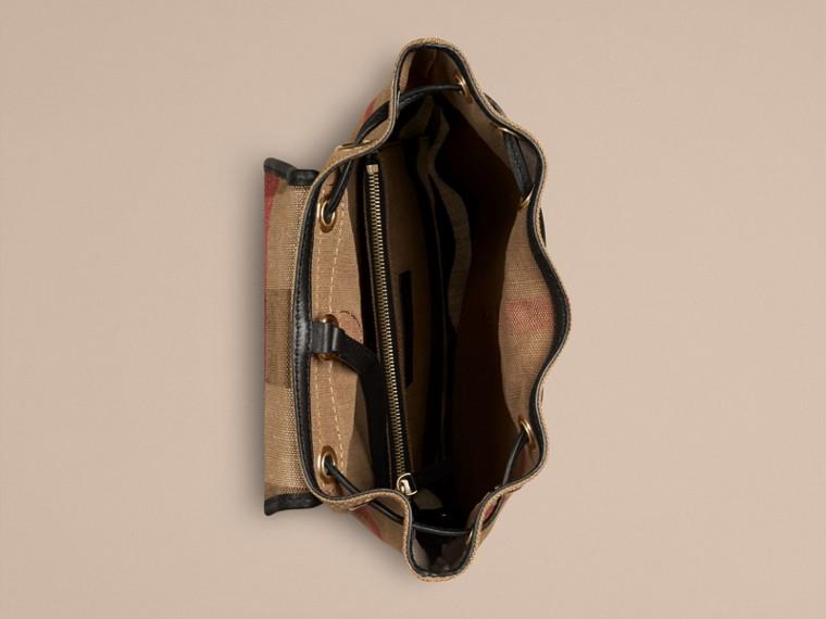 Schwarz Rucksack in Canvas Check mit Lederbesatz Schwarz - cell image 2