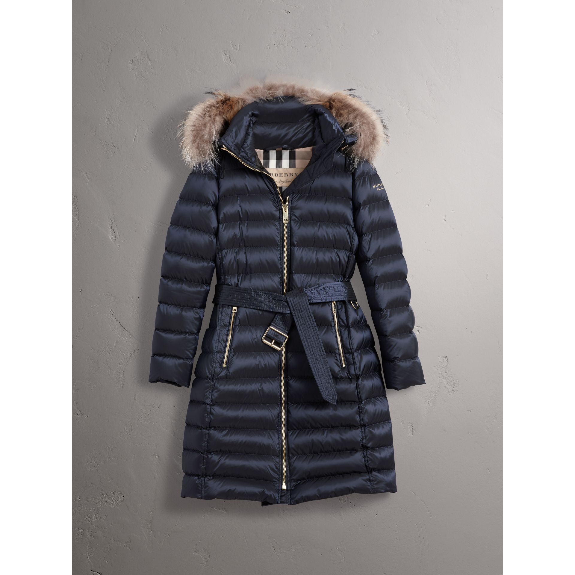 Detachable Fur Trim Down-filled Puffer Coat with Hood in Navy - Women | Burberry United Kingdom - gallery image 3