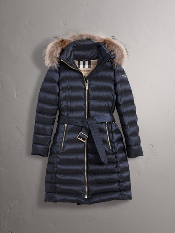 Detachable Fur Trim Down-filled Puffer Coat with Hood in Navy - Women | Burberry - cell image 3