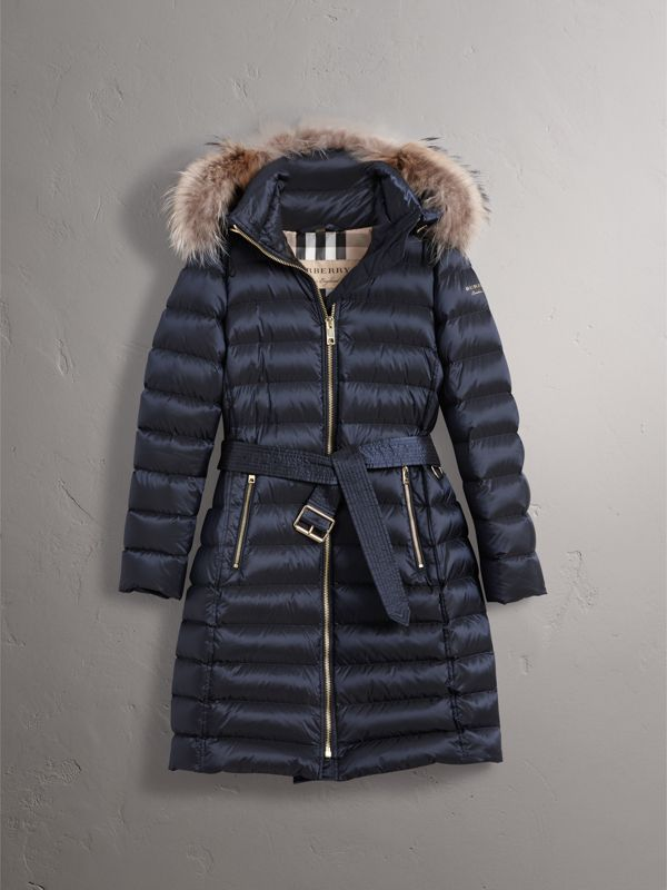 Detachable Fur Trim Down-filled Puffer Coat with Hood in Navy - Women | Burberry United States - cell image 3