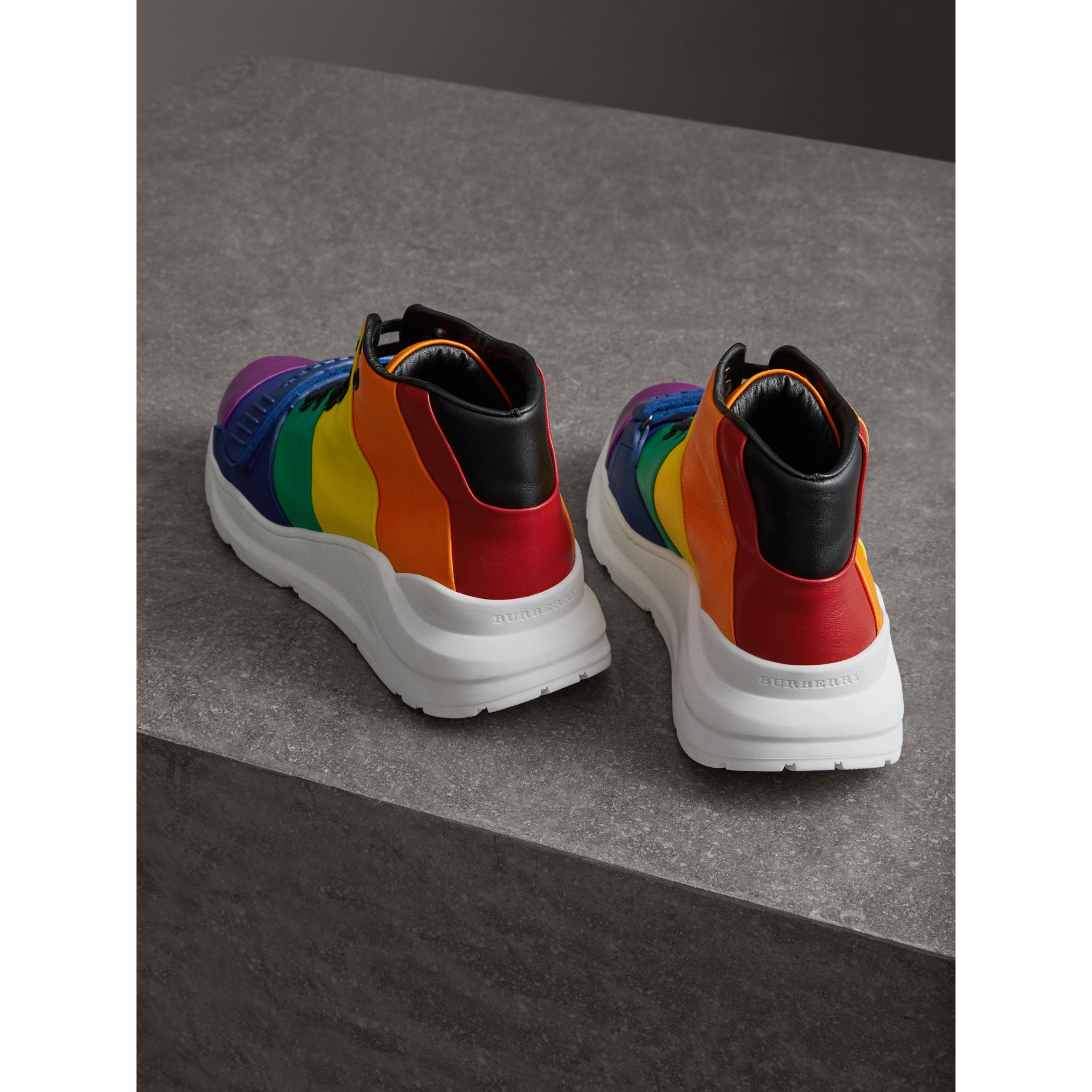 Rainbow Leather High-top Sneakers - Women | Burberry - gallery image 3