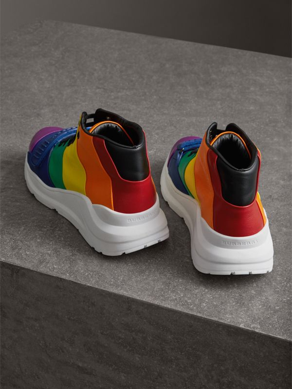 Rainbow Leather High-top Sneakers - Women | Burberry - cell image 3