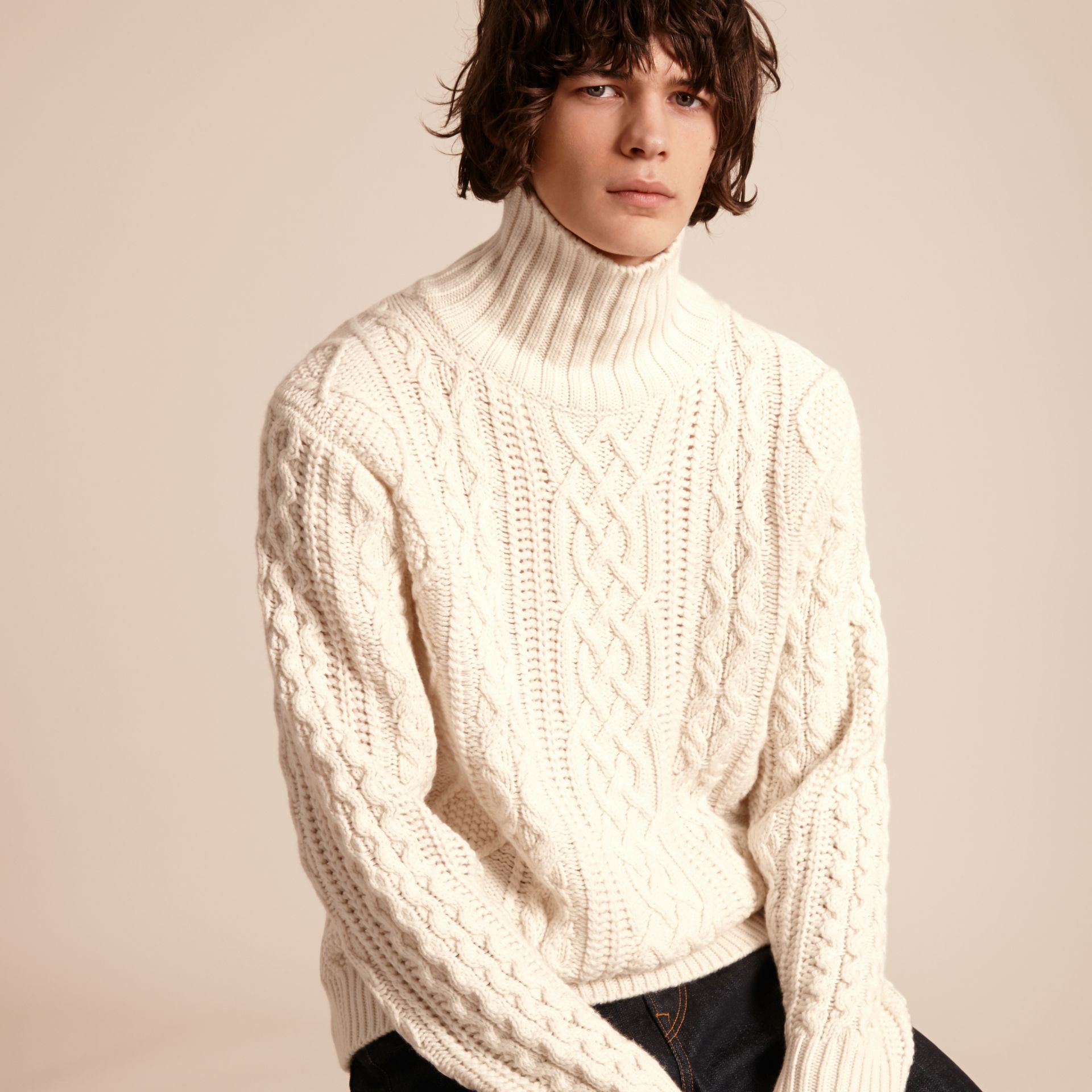 Natural white Funnel Neck Cashmere Cable Knit Sweater - gallery image 6