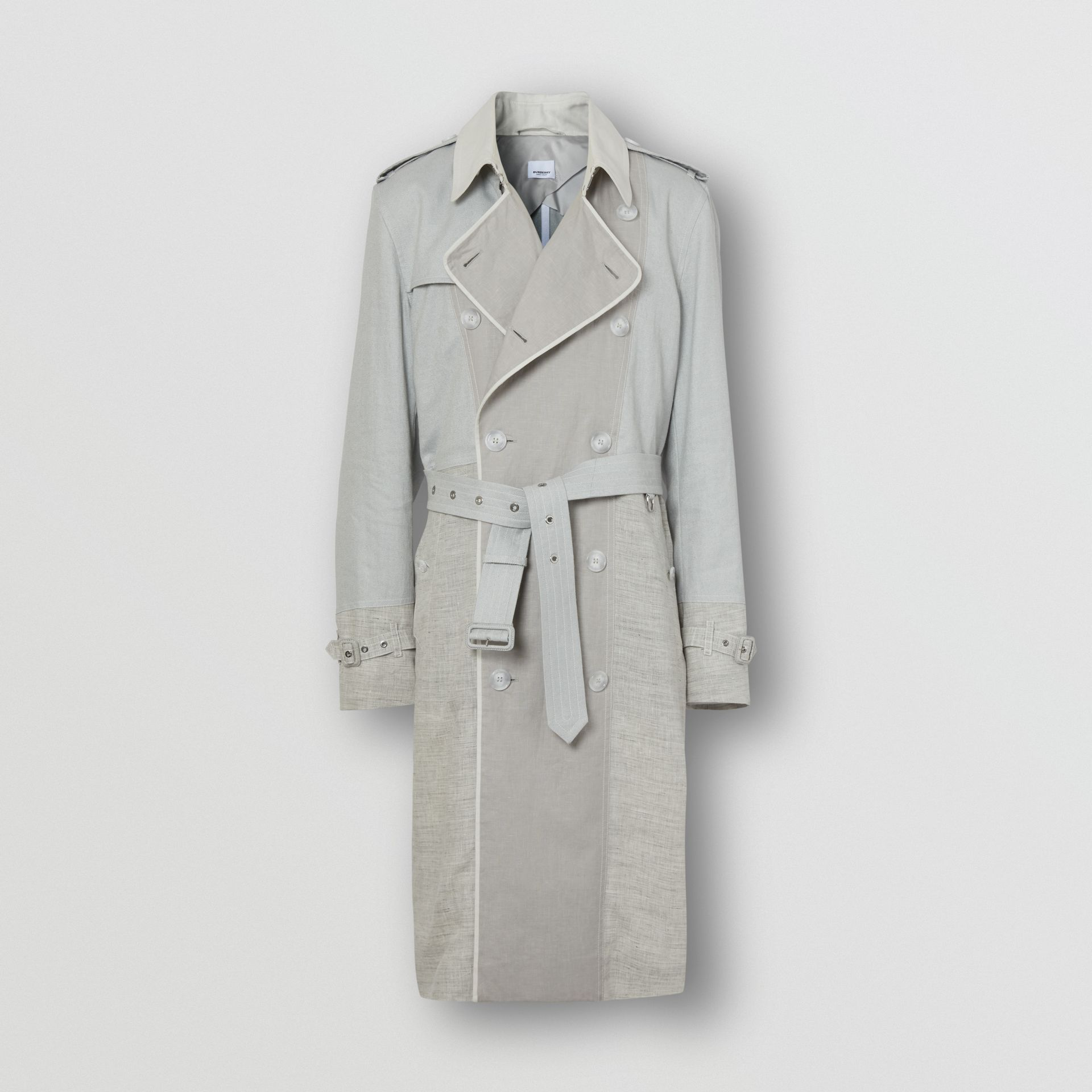 Panelled Linen Trench Coat in Light Pebble Grey - Men | Burberry - gallery image 3