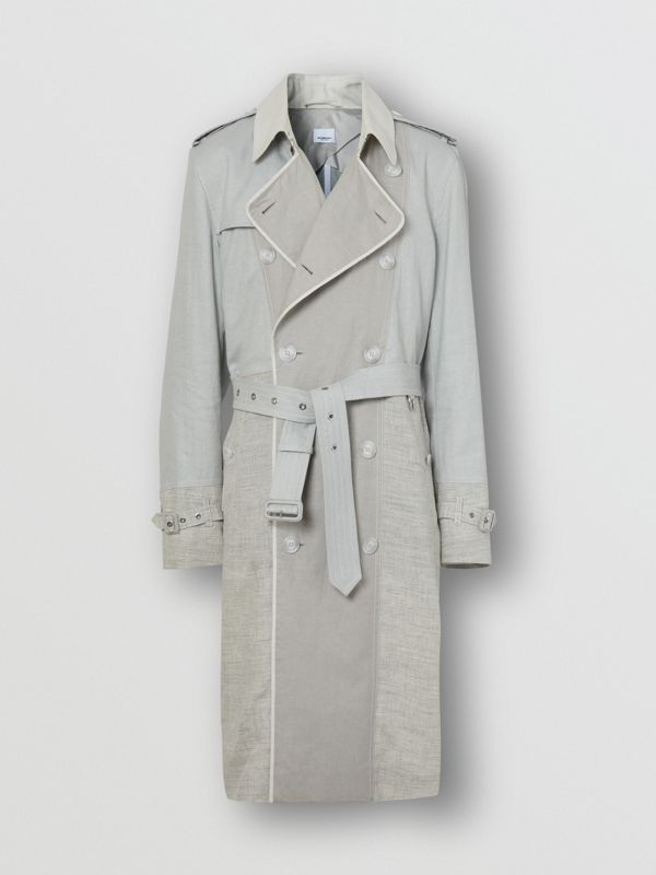 Panelled Linen Trench Coat in Light Pebble Grey - Men | Burberry - cell image 3