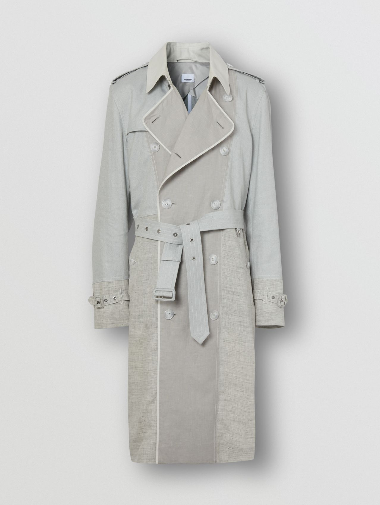 Panelled Linen Trench Coat in Light Pebble Grey