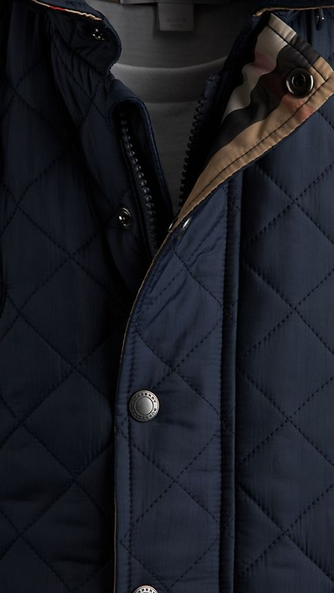 Navy Check Detail Diamond Quilted Jacket - Image 3