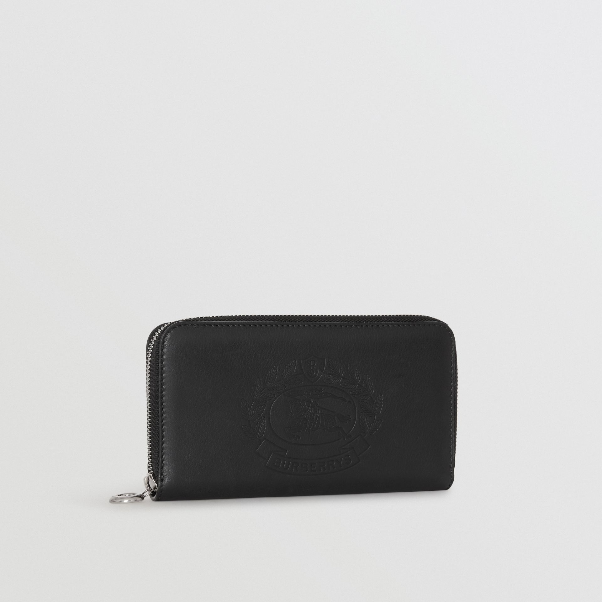 Embossed Crest Two-tone Leather Ziparound Wallet in Black - Women | Burberry United States - gallery image 3