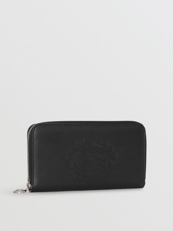 Embossed Crest Two-tone Leather Ziparound Wallet in Black - Women | Burberry United States - cell image 3