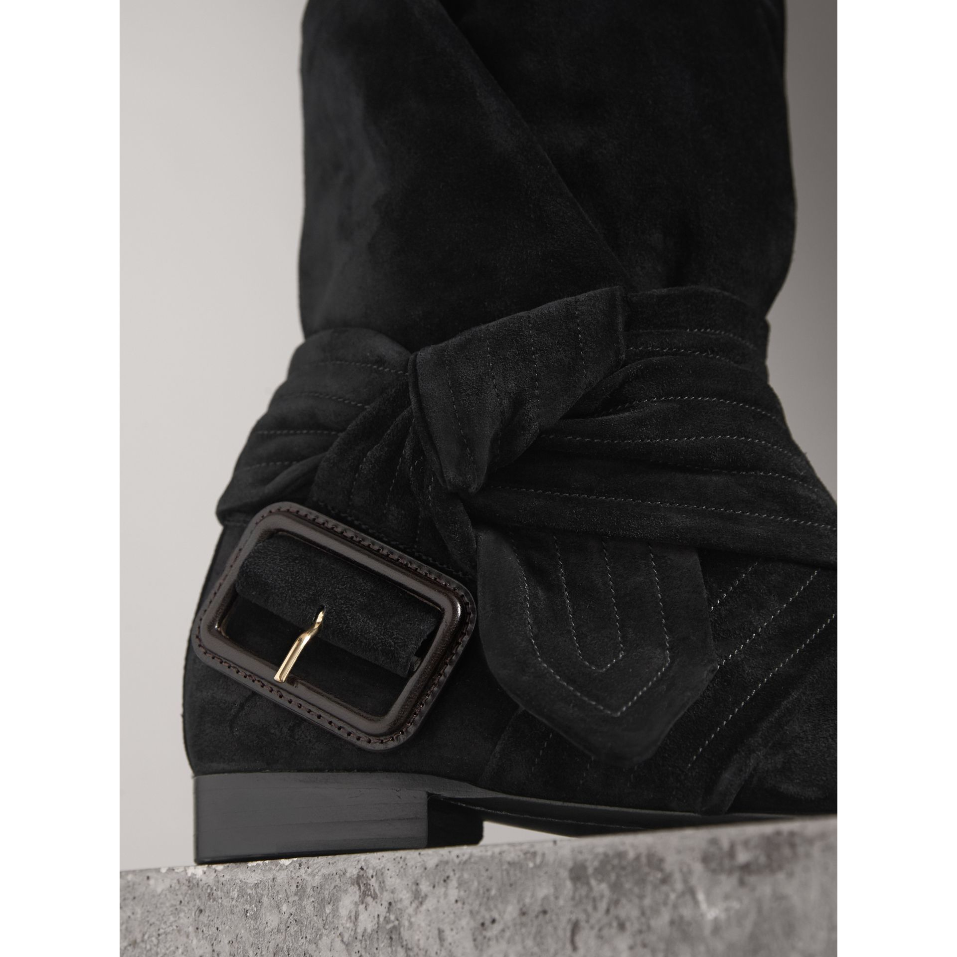 Belt Detail Suede Boots in Black - Women | Burberry United States - gallery image 1