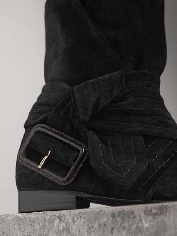 Belt Detail Suede Boots in Black | Burberry - cell image 1