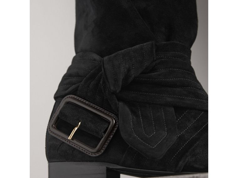Belt Detail Suede Boots in Black - Women | Burberry - cell image 1