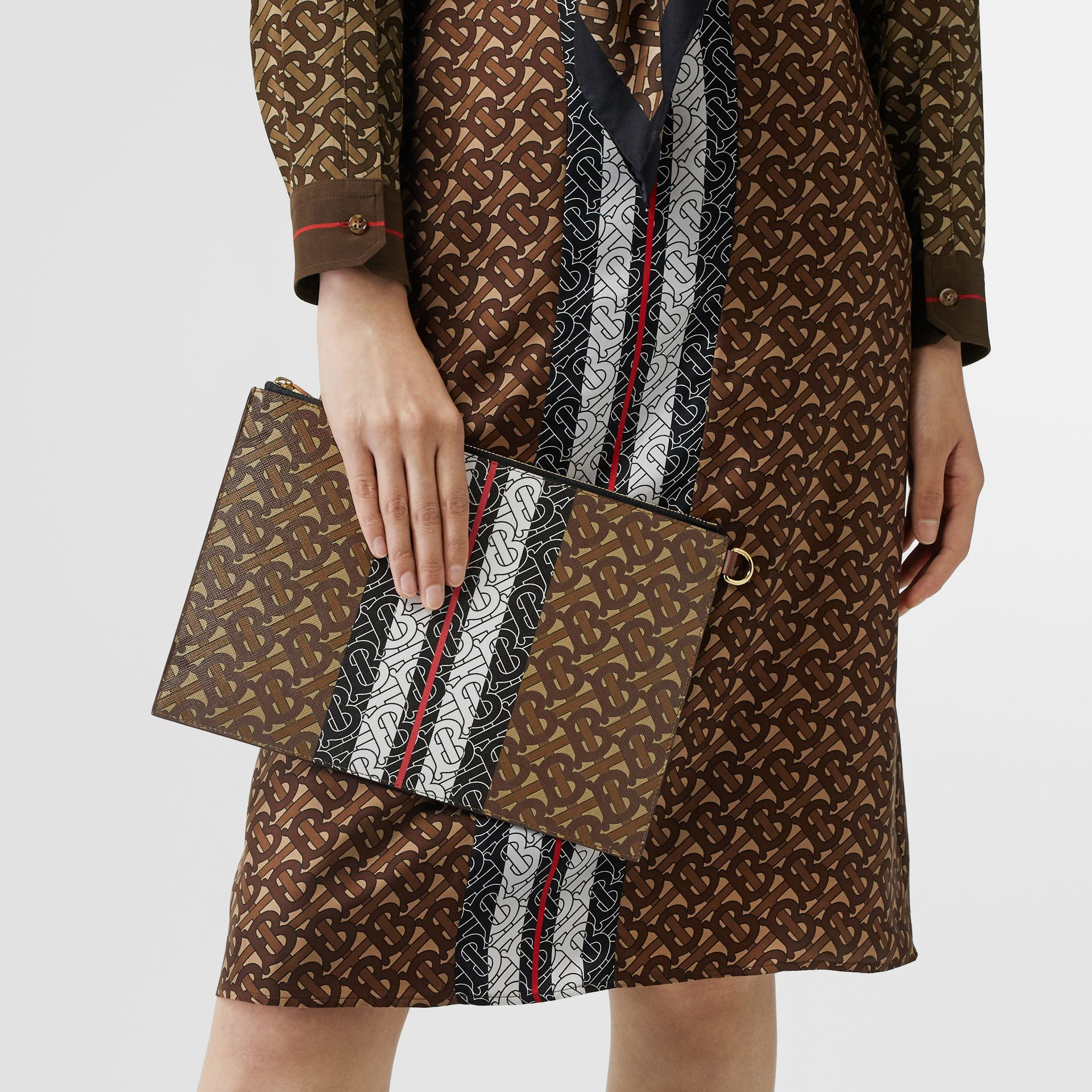 Monogram Stripe E-canvas Zip Pouch in Bridle Brown | Burberry Australia - gallery image 2