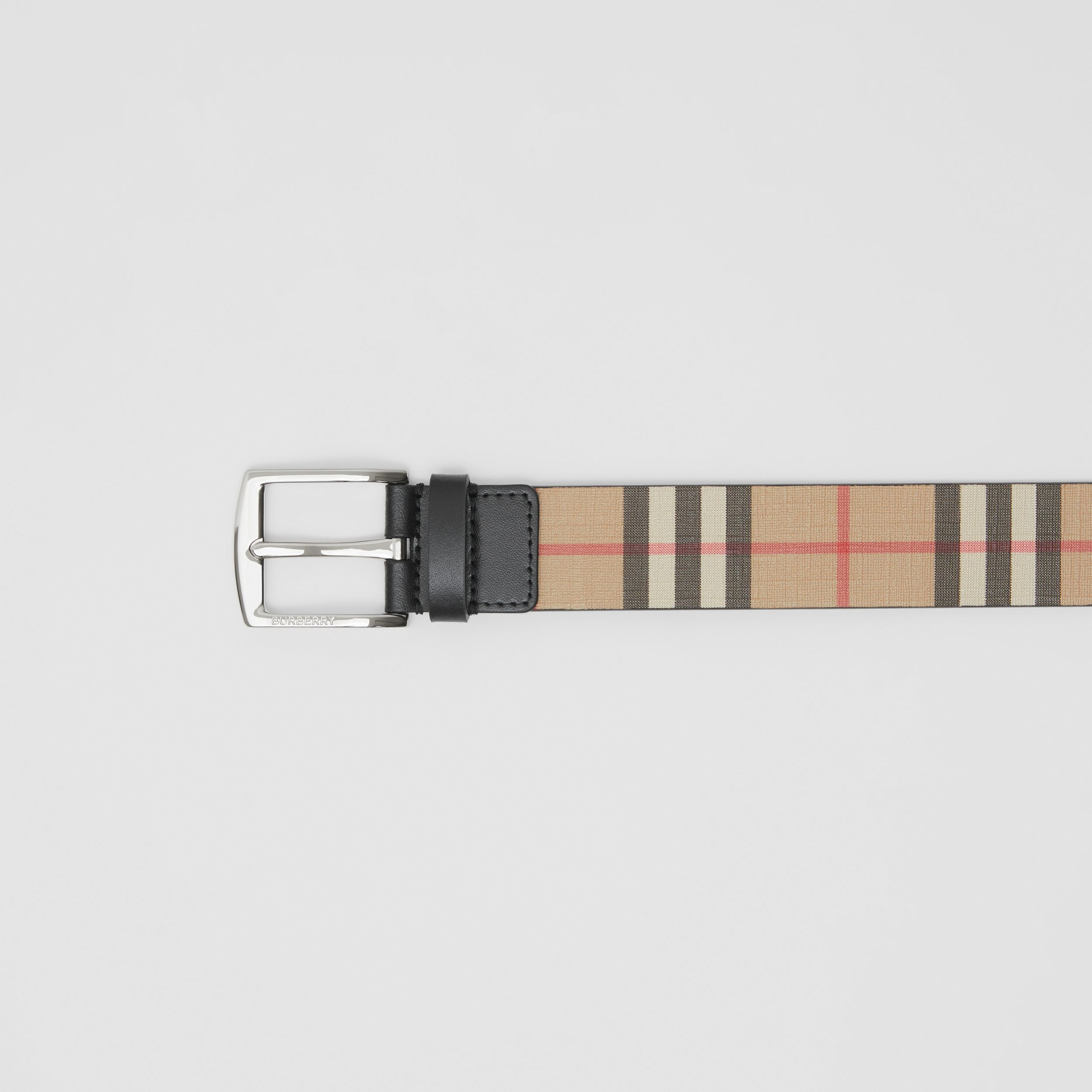 Vintage Check E-canvas and Leather Belt in Archive Beige - Men | Burberry Australia - 2