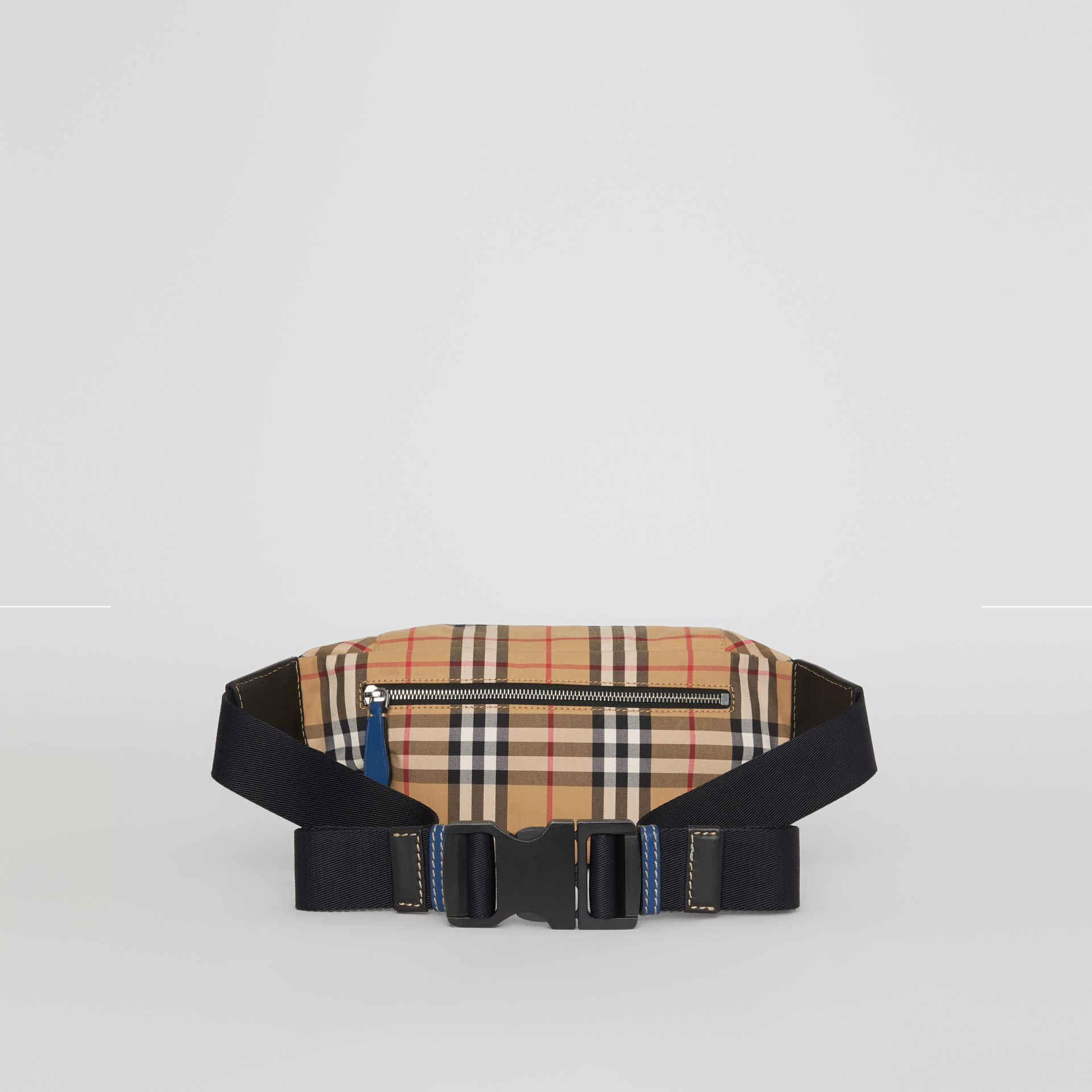 Medium Vintage Check Bum Bag in Canvas Blue - Men | Burberry Australia - gallery image 9