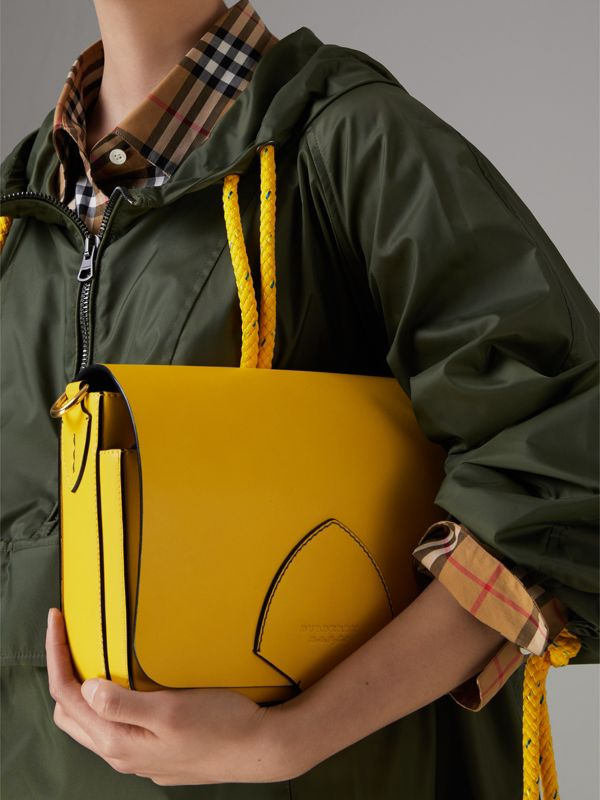 The Large Square Satchel in Leather in Bright Larch Yellow - Women | Burberry - cell image 3