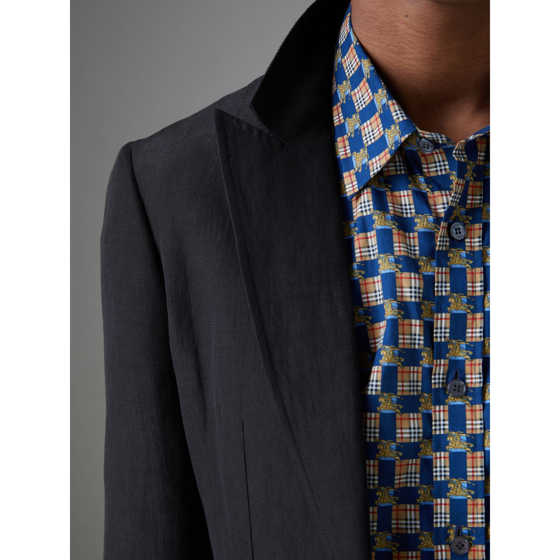 Slim Fit Linen Silk Evening Jacket in Black - Men | Burberry United States - gallery image 1