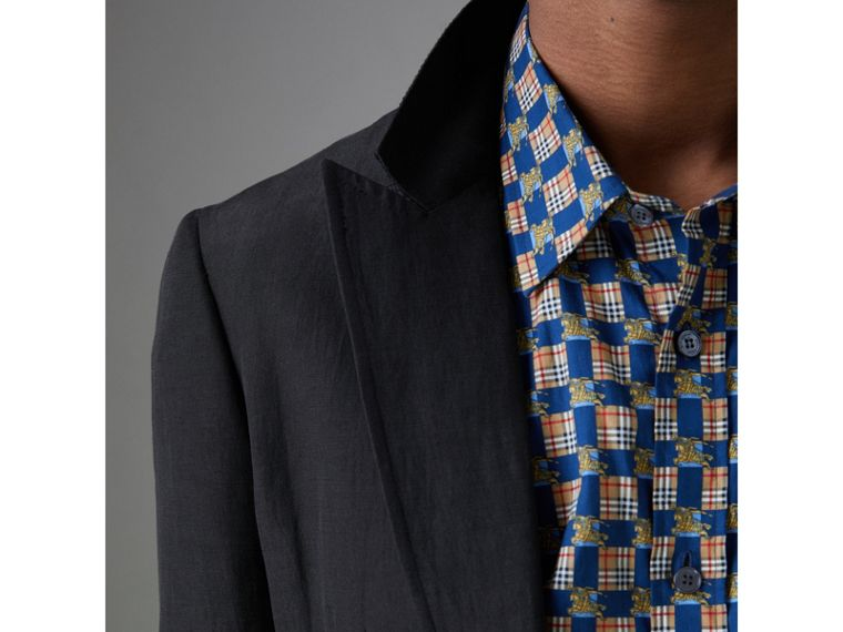 Slim Fit Linen Silk Evening Jacket in Black - Men | Burberry - cell image 1