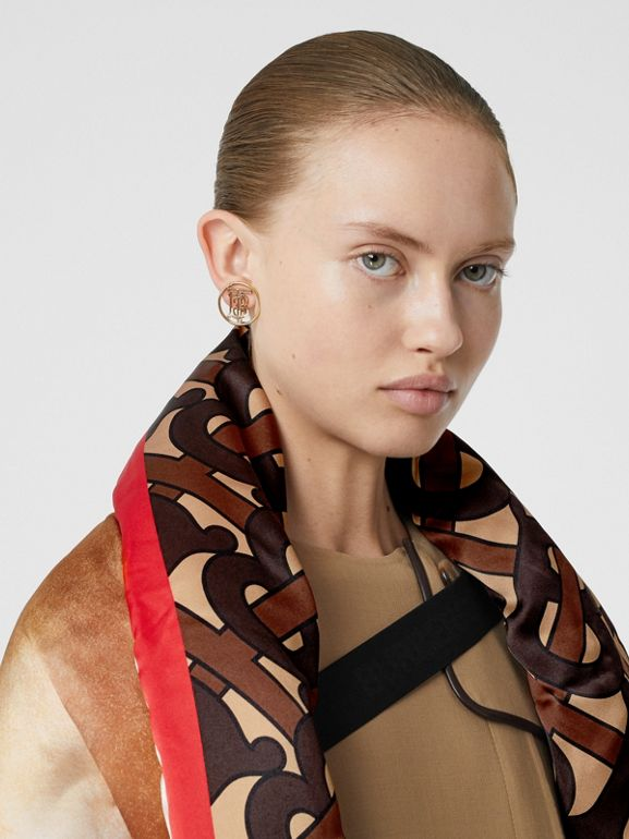 Mariner Print Silk Satin Oversized Puffer Cape in Bridle Brown - Women | Burberry - cell image 1