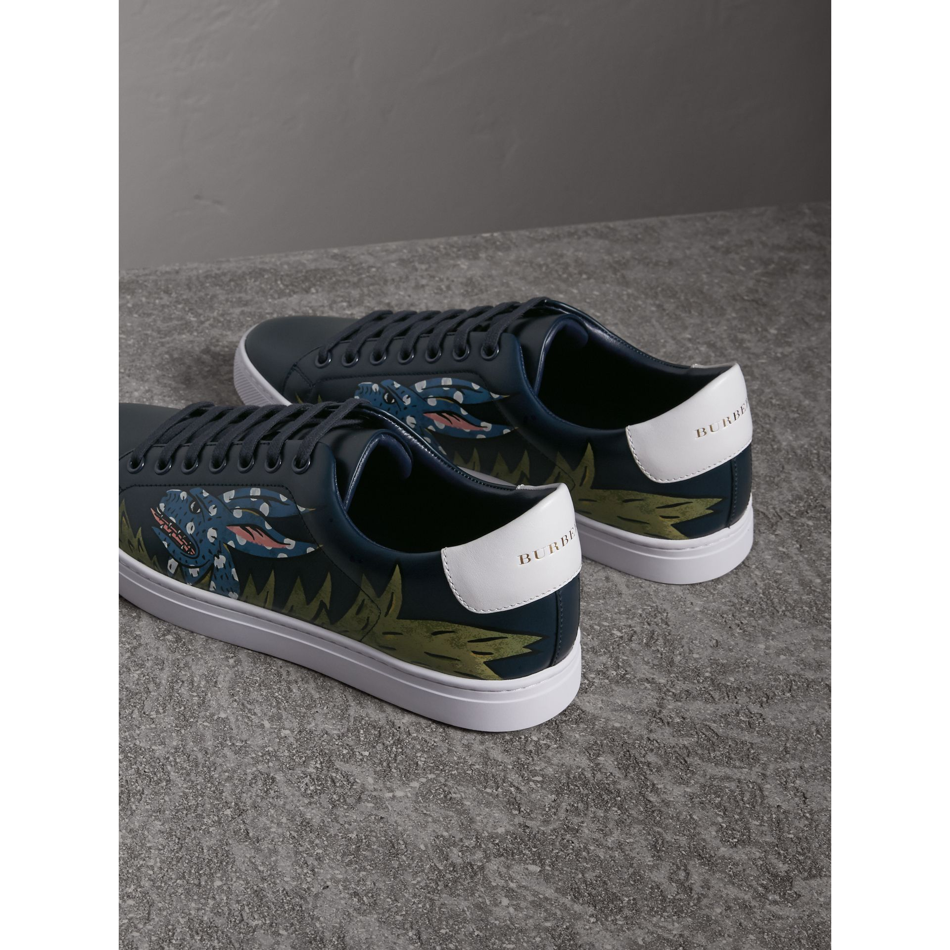 Beasts Print Leather Trainers in Navy | Burberry - gallery image 3
