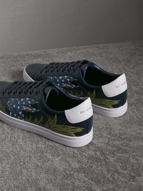 Beasts Print Leather Trainers in Navy | Burberry - cell image 2