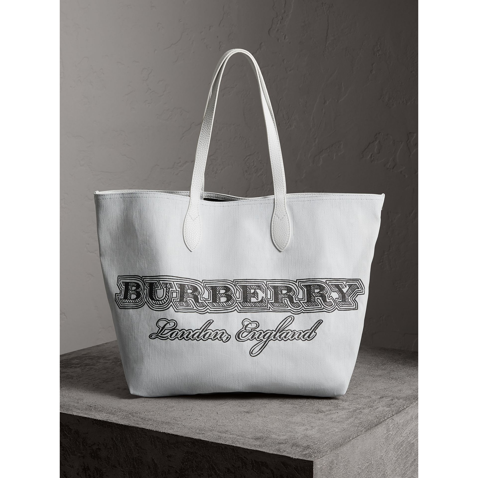 The Large Reversible Doodle Tote in White - Women | Burberry - gallery image 1