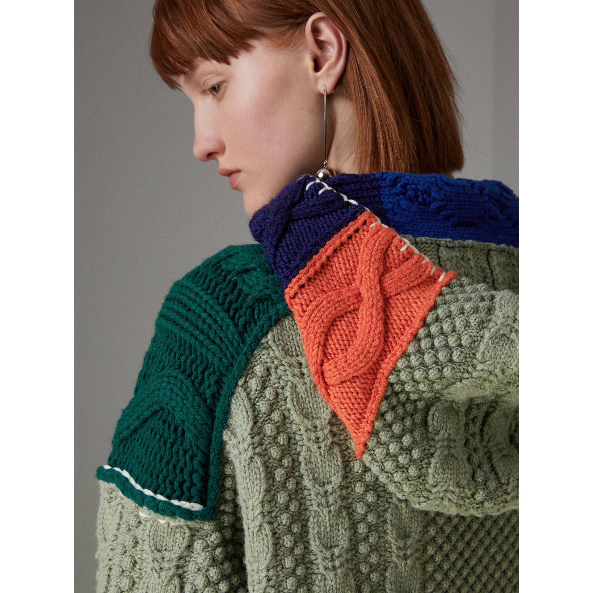 Wool and Cashmere Blend Patchwork Hoodie in Multicolour - Women | Burberry - gallery image 5