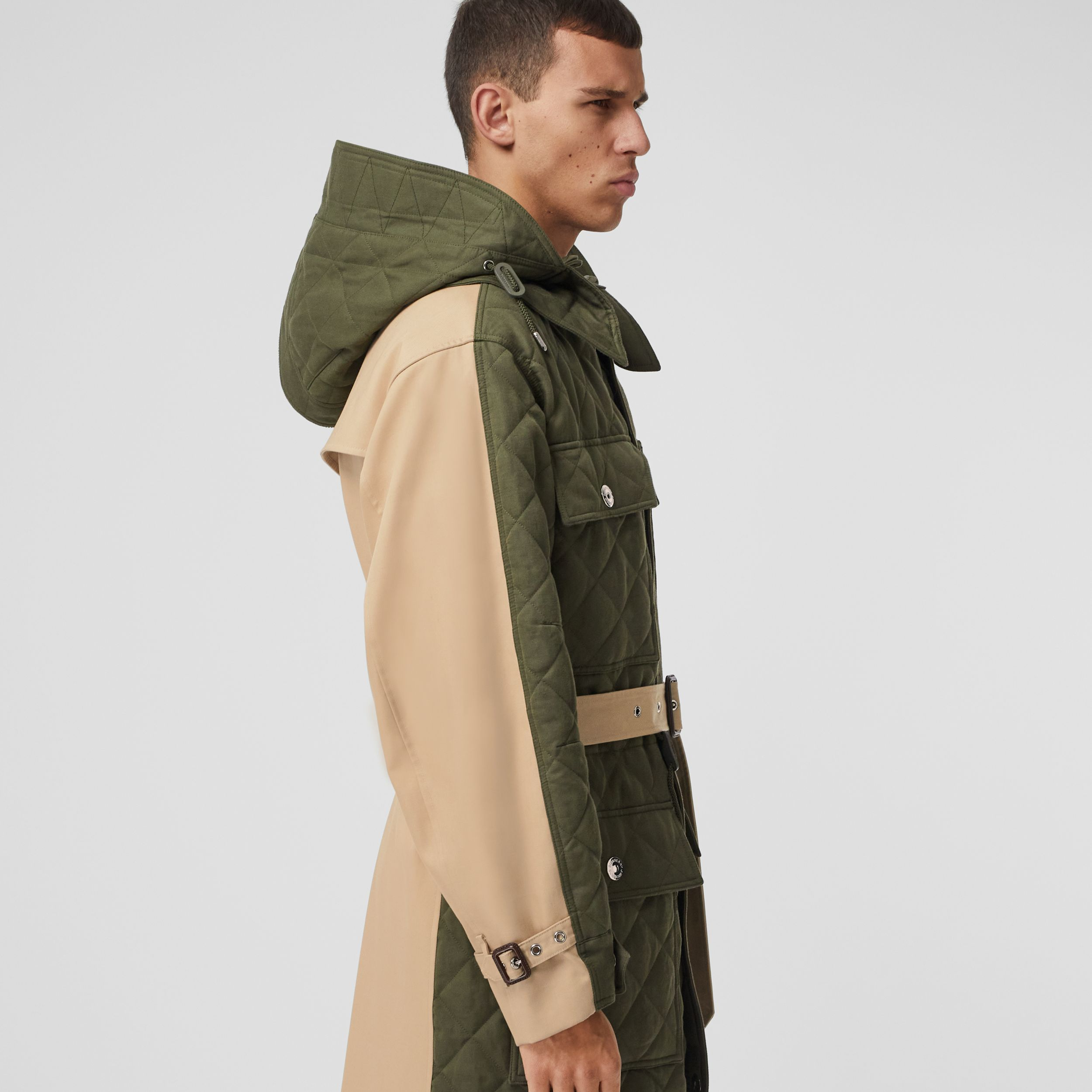 Detachable Hood Quilted Ramie Cotton Parka in Olive Green | Burberry - 2