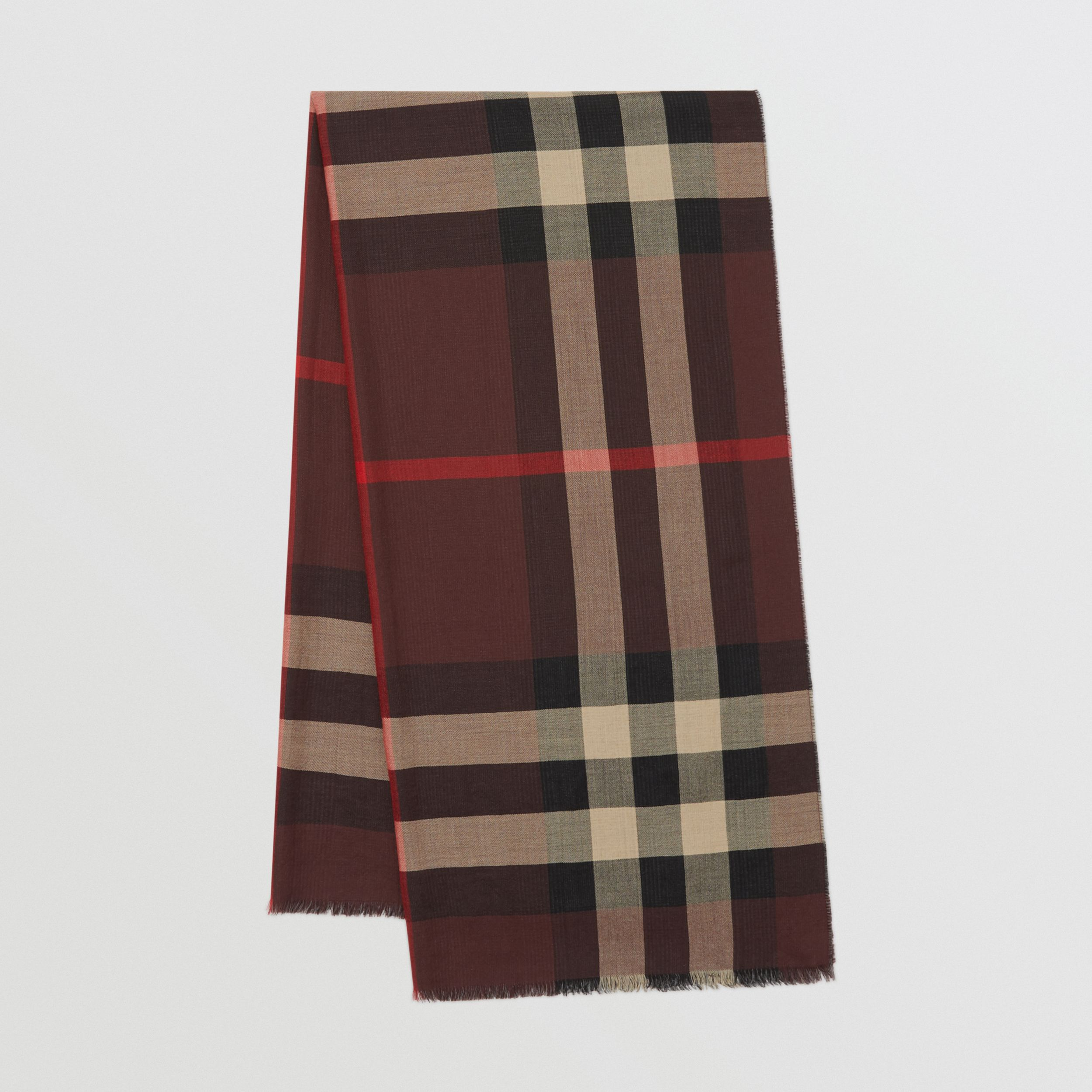 Reversible Check Cashmere Scarf in Burgundy | Burberry - 1