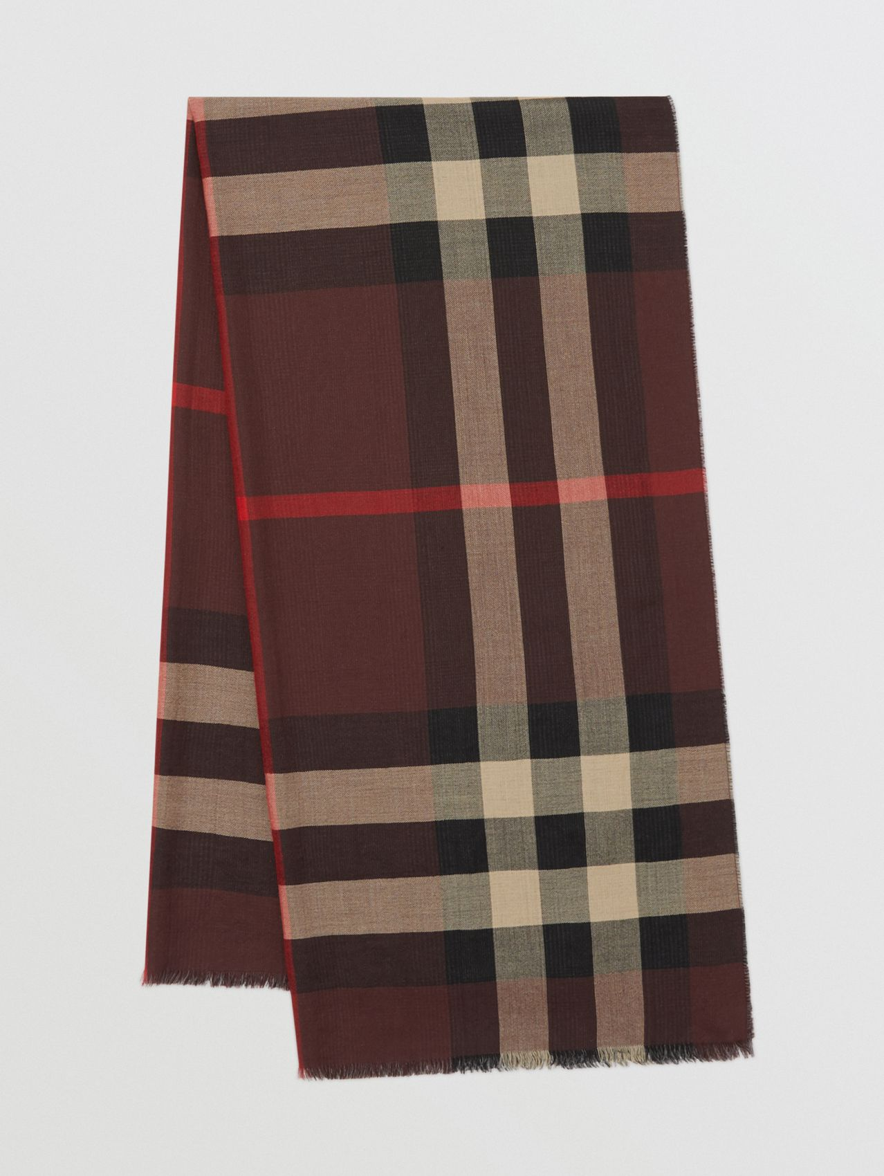 Reversible Check Cashmere Scarf in Burgundy