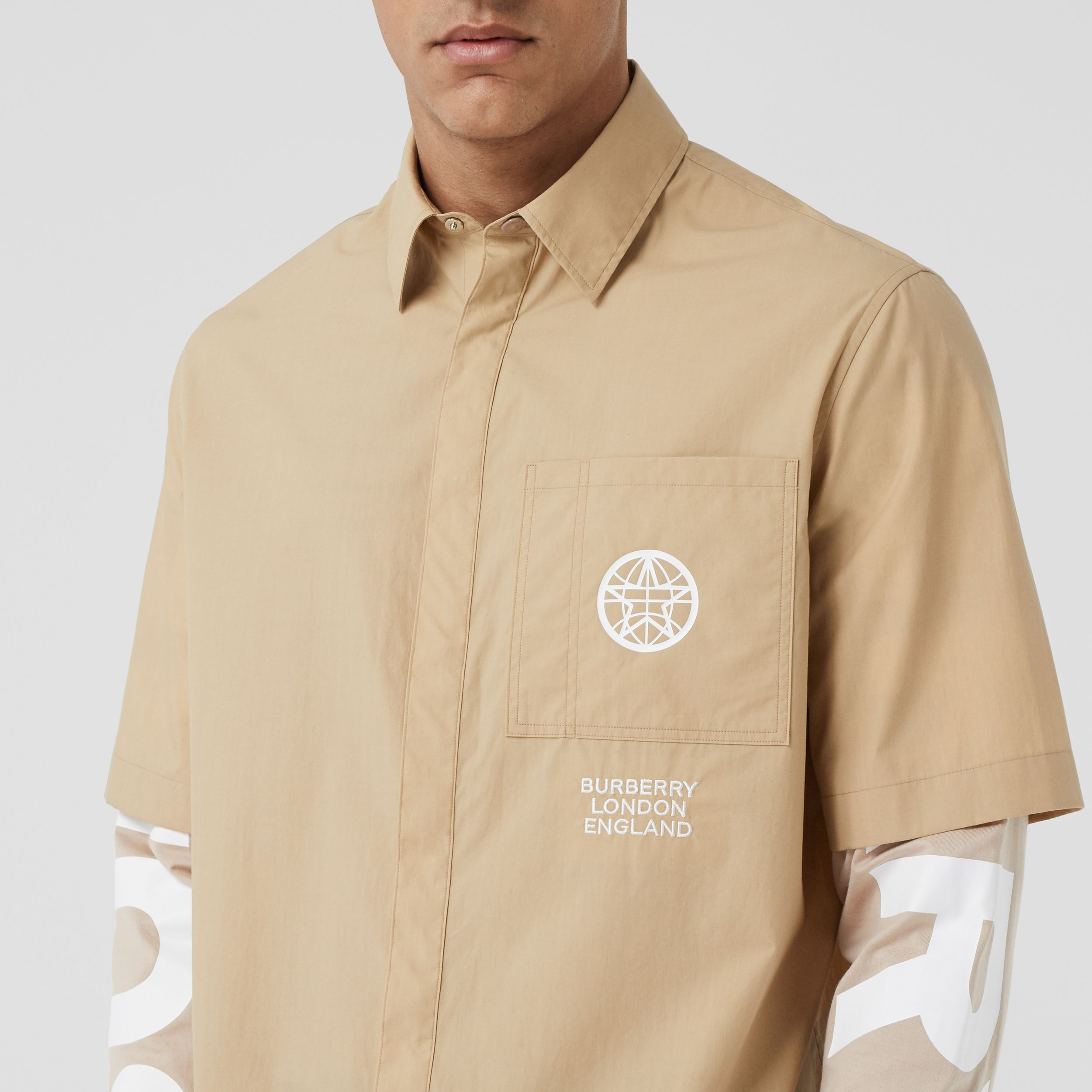 Globe Graphic Cotton Oversized Shirt - Men | Burberry Australia - 2