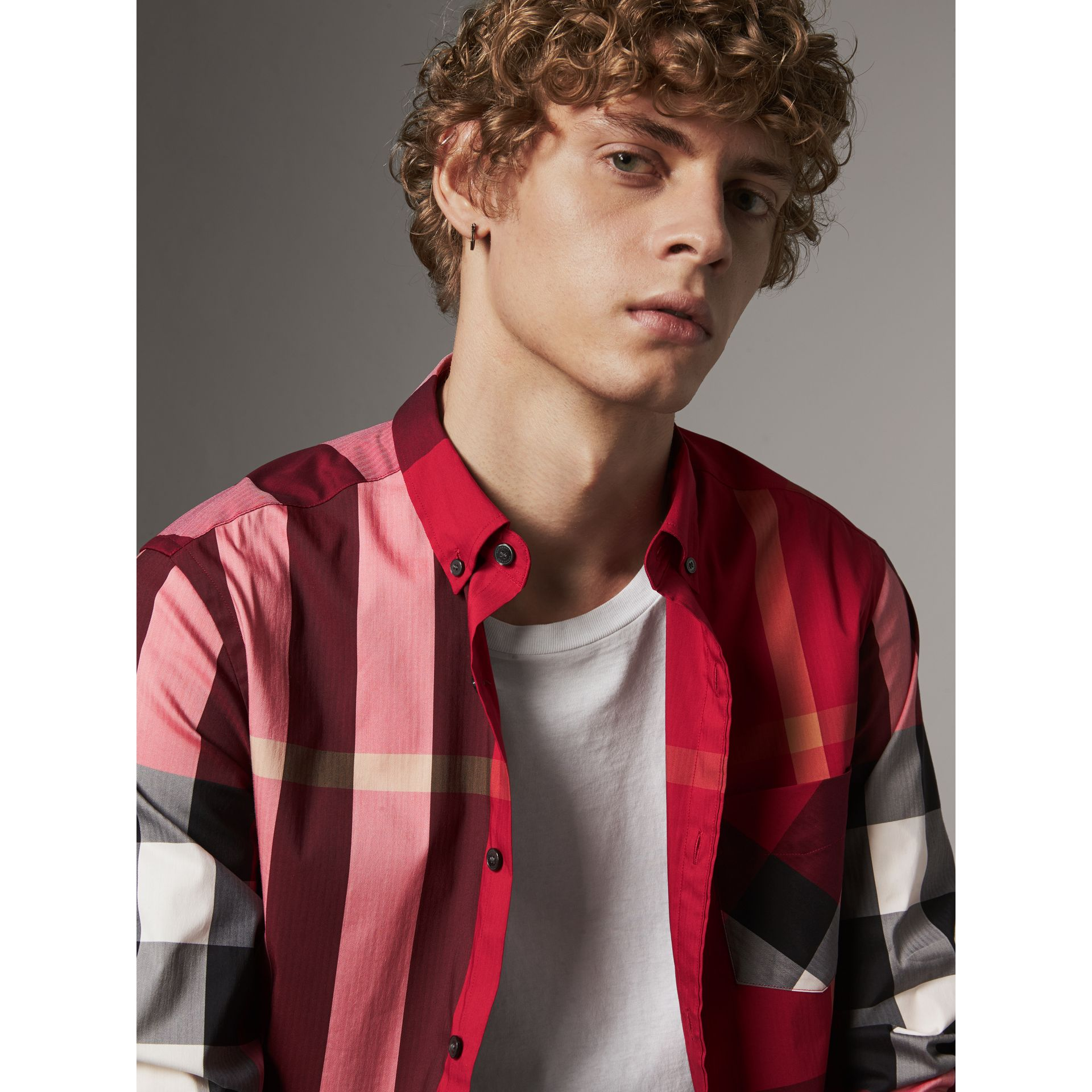Button-down Collar Check Stretch Cotton Blend Shirt in Parade Red - Men | Burberry United Kingdom - gallery image 1
