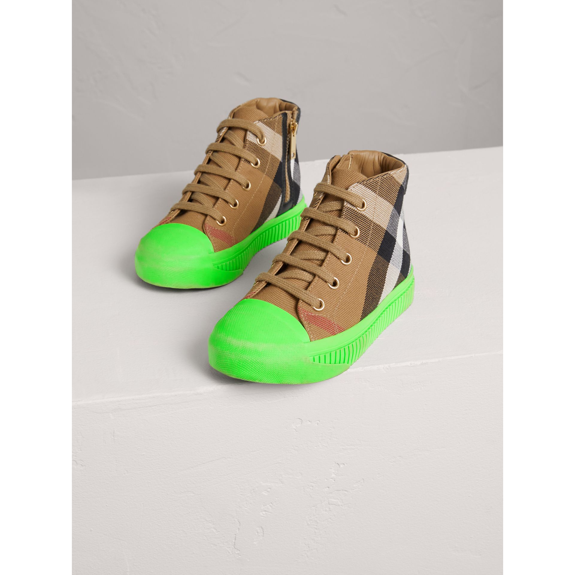 House Check and Leather High-top Sneakers in Classic/neon Green | Burberry - gallery image 3