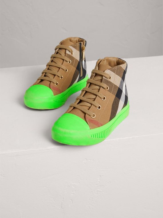 House Check and Leather High-top Sneakers in Classic/neon Green | Burberry - cell image 3