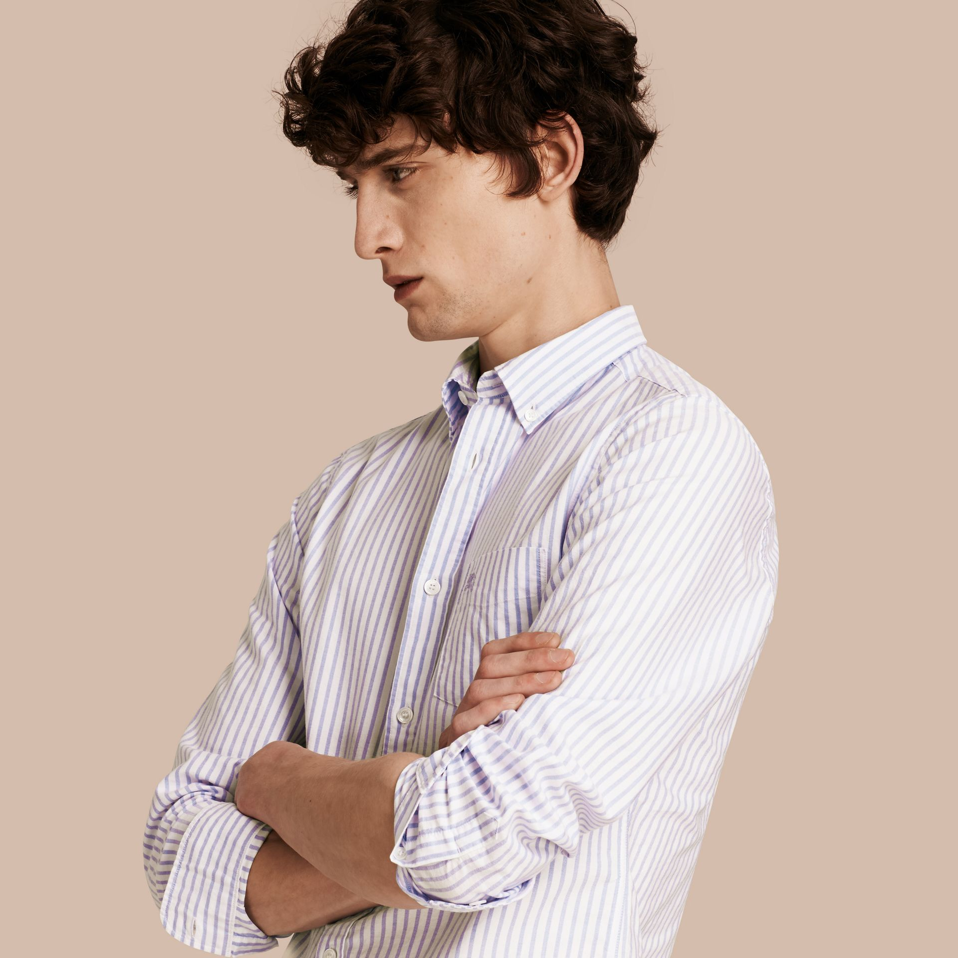 Button-down Collar Oxford Stripe Cotton Shirt Pale Blue - gallery image 1