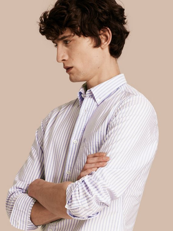 Button-down Collar Oxford Stripe Cotton Shirt Pale Blue