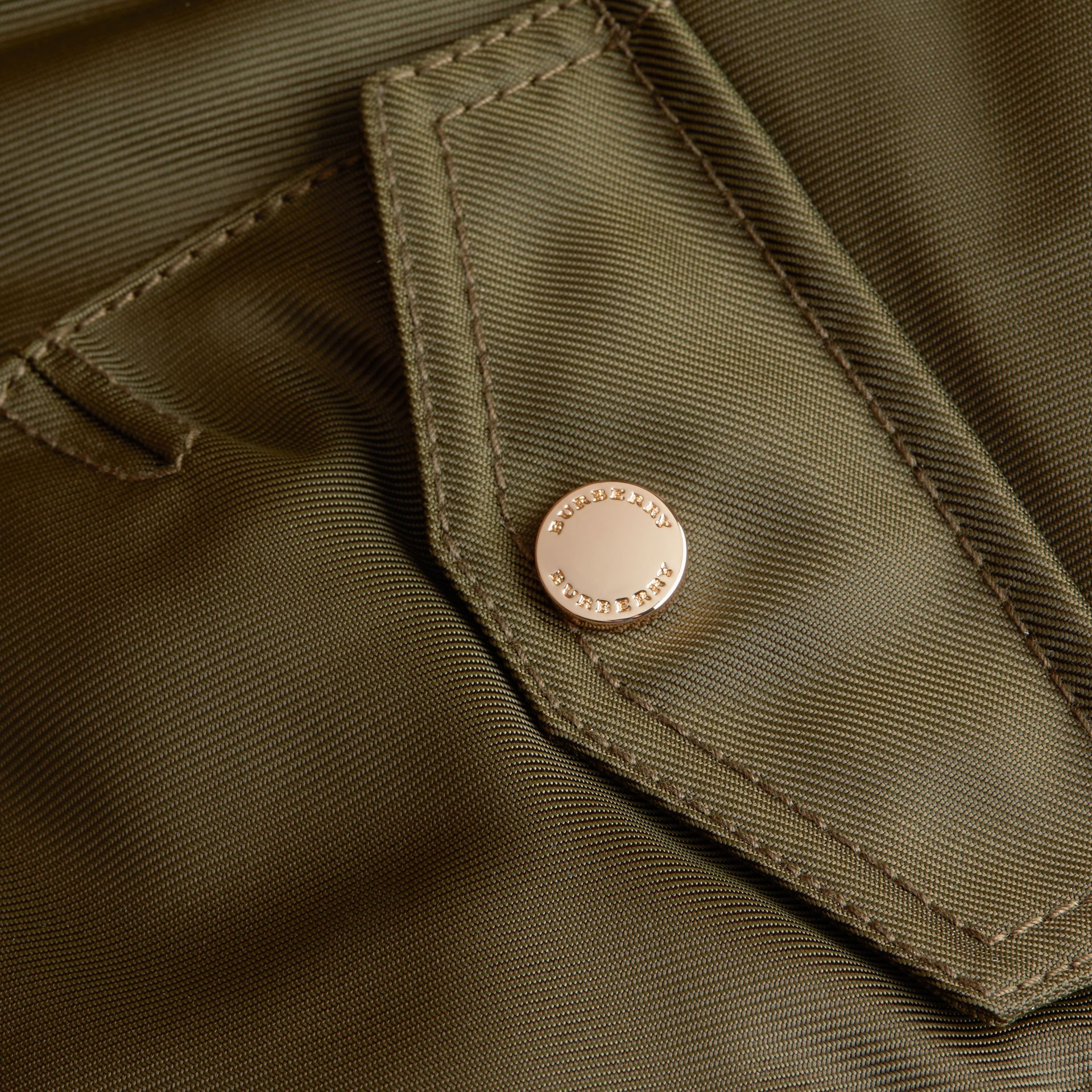 Detachable Raccoon Fur Trim Hood Bomber Jacket in Caper Green - Boy | Burberry - gallery image 2