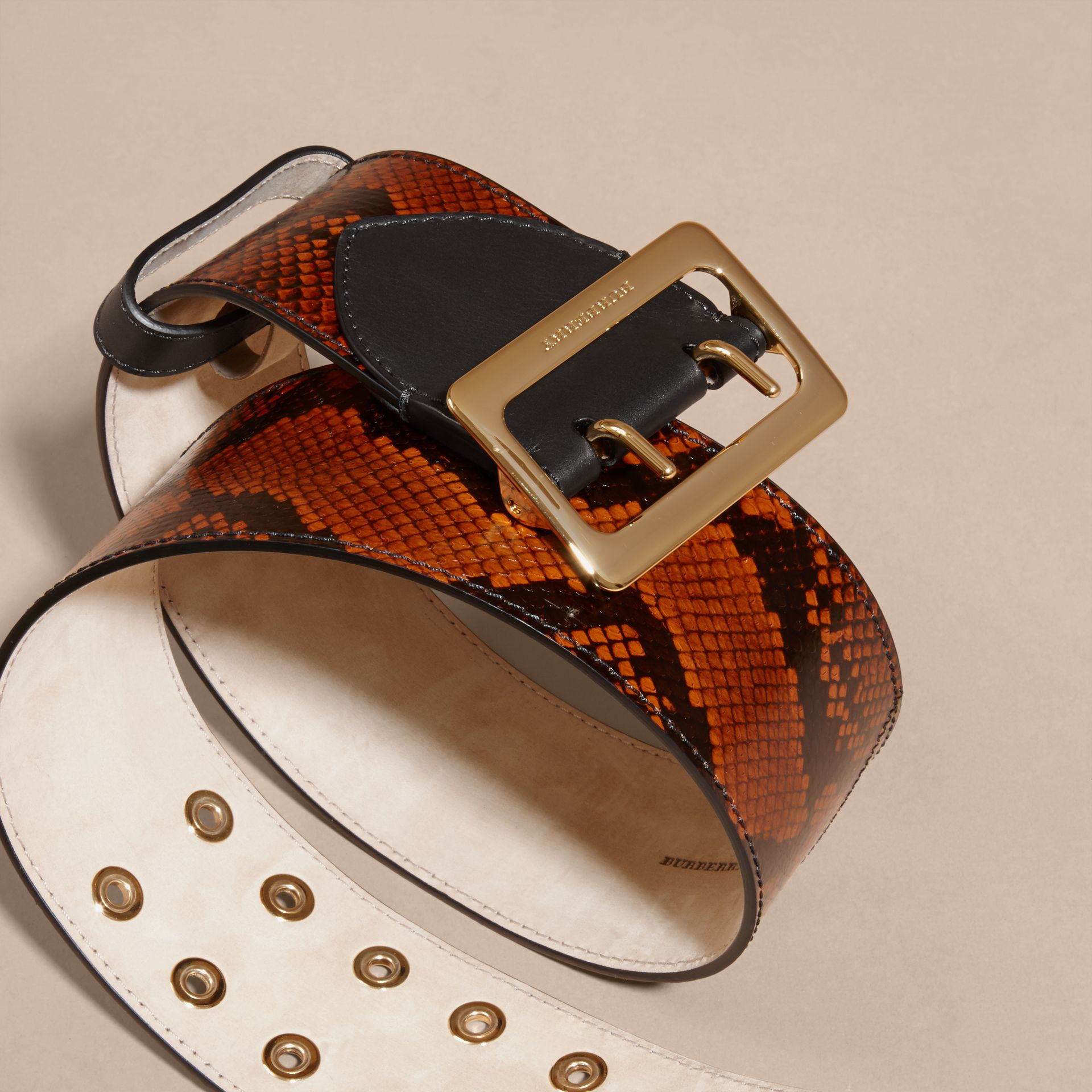 Snakeskin Intarsia Waist Belt in Tan - Women | Burberry - gallery image 2
